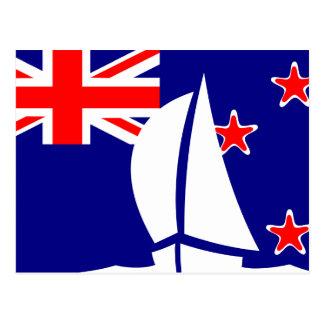 Carte Postale Bateau à voile de drapeau de la Nouvelle Zélande