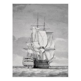 Carte Postale Bateau anglais de Ligne-de-Bataille, XVIIIème