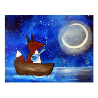 Carte Postale Bateau lunatique d'art de Fox de chant enfants