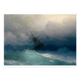 Carte Postale Bateau sur les mers orageuses, Ivan Aivazovsky -
