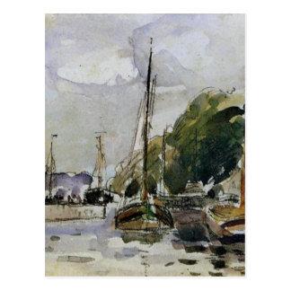 Carte Postale Bateaux au dock par Camille Pissarro