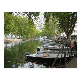 Carte postale : Bateaux, canal, lac Annecy, France