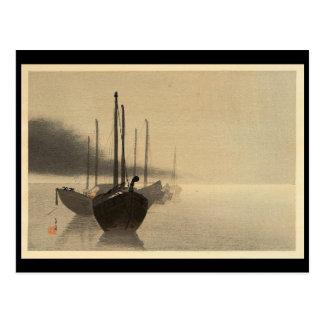 Carte Postale Bateaux dans la brume par Seitei Watanabe 1851 -