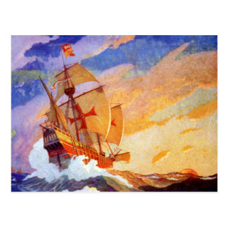 Carte Postale Bateaux de Christophe Colomb au cru de mer
