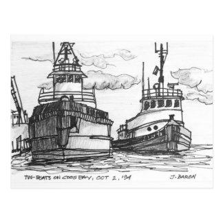 Carte Postale Bateaux de traction subite sur la baie de