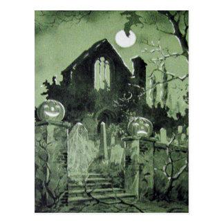 Carte Postale Batte hantée de fantôme de lanterne de Jack O de
