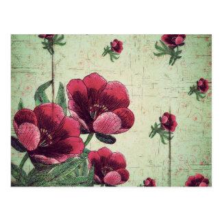 Carte Postale Beau collage vintage de fleur
