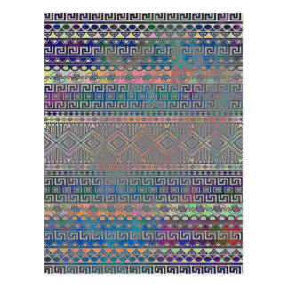 Carte Postale Beau motif géométrique aztèque coloré frais
