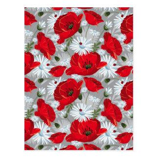 Carte Postale Beau pavot rouge, marguerites blanches et