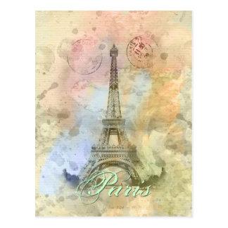 Carte Postale Beau Tour Eiffel vintage girly à la mode France