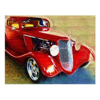 Carte Postale Beauté rouge - la voiture du collecteur classique