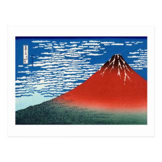 Carte Postale Beaux-arts rouges de Japonais de Fuji Hokusai