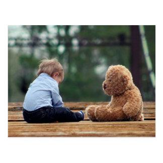 Carte Postale Bébé et ours de nounours