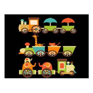 Carte Postale Bébé mignon d'enfants de cadeaux de train