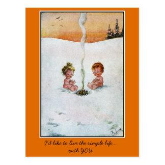Carte Postale Bébés mignons vintages dans la neige, 'life simple
