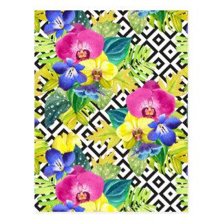 Carte Postale Bégonia et palmettes d'orchidée