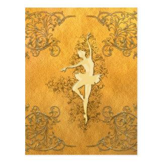 Carte Postale Belle ballerine d'or