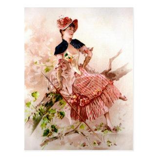 Carte Postale Belle Madame vintage In Pink Dress