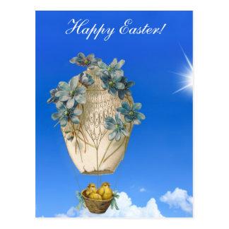 Carte Postale Belle Pâques - ciel, poussins volants et fleurs
