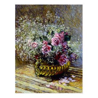 Carte Postale Belles fleurs dans un pot d'or