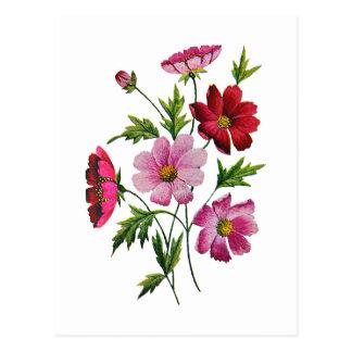 Carte Postale Belles fleurs de cosmos en broderie de laine à