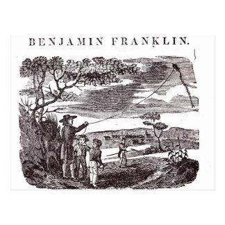 Carte Postale Benjamin Franklin entreprend son expérience de
