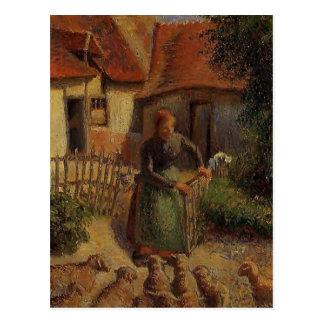 Carte Postale Bergère de Camille Pissarro- apportant les moutons