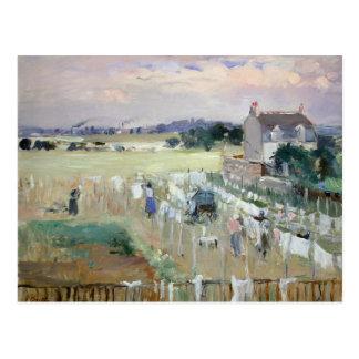 Carte Postale Berthe Morisot - traînant la blanchisserie pour