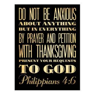 Carte Postale Bible scripturale chrétienne - 4:6 de Philippiens
