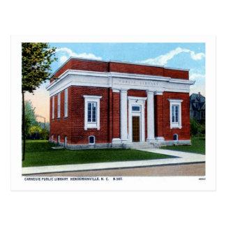 Carte Postale Bibliothèque de Carnegie, cru de Hendersonville OR