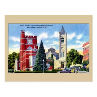 Carte Postale Bibliothèque publique, église, taverne, Nashua NH
