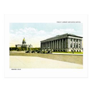 Carte Postale Bibliothèque publique et capitol d'état, Denver,