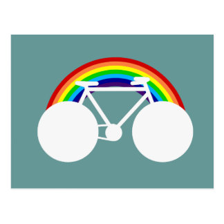 Carte Postale bicyclette et arc-en-ciel graphiques
