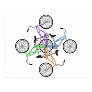 Carte Postale Bicyclettes ! 4 vélos colorés différents