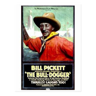 """Carte Postale Bill Pickett en """"carte postale de Taureau-Dogger"""""""