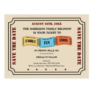 Carte Postale Billet de la Réunion de famille d'amusement pour
