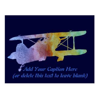 Carte Postale Biplan d'arc-en-ciel