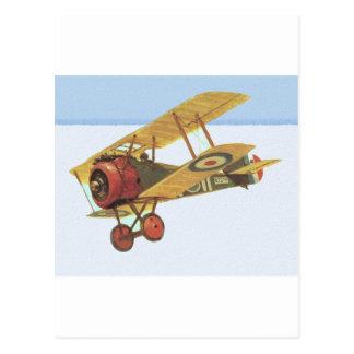 Carte Postale Biplan jaune