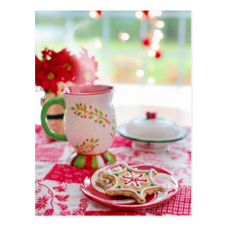 Carte Postale Biscuit de flocons de neige avec le thé