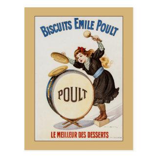 Carte Postale Biscuits français vintages, petite fille sur le