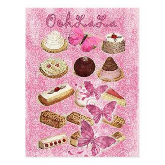 Carte Postale biscuits roses de petit gâteau de pâtisserie