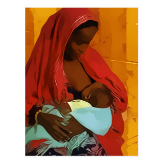 Carte Postale black woman breast-feeding child