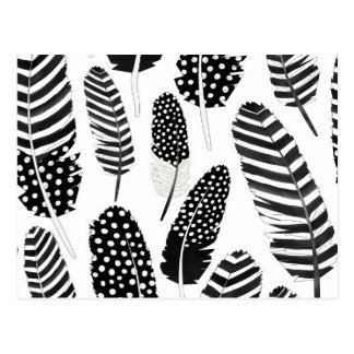 Carte Postale Blanc de noir d'aquarelle de motif de plume de duc