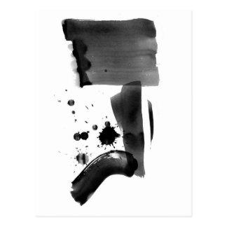 Carte Postale Blanc de noir d'expressionisme abstrait