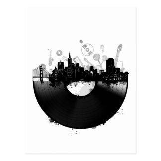 Carte Postale blanc de vinyle d'horizon de ville de San