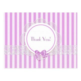 Carte Postale Blanc - Merci rayé rose de dentelle