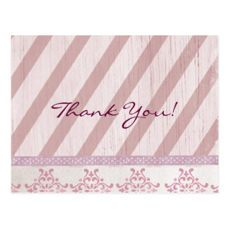 Carte Postale Blanc - Merci rose vintage de rayure