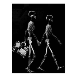 Carte Postale Blanc noir de déplacement de couples squelettiques