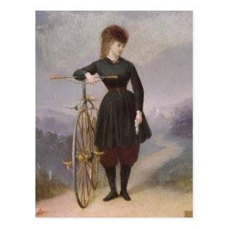Carte Postale Blanche d'Antigny et son vélo sur rail