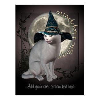 Carte postale blanche magique de chat